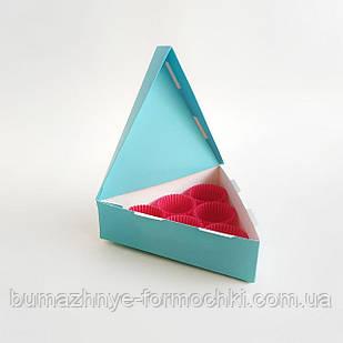 """Коробка для 6 конфет """"Треугольник"""", бирюзовая"""