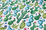 """Лоскутткани """"Густі кактуси"""" бірюзово-зелений на білому №2295а, розмір 21*160 см, фото 7"""