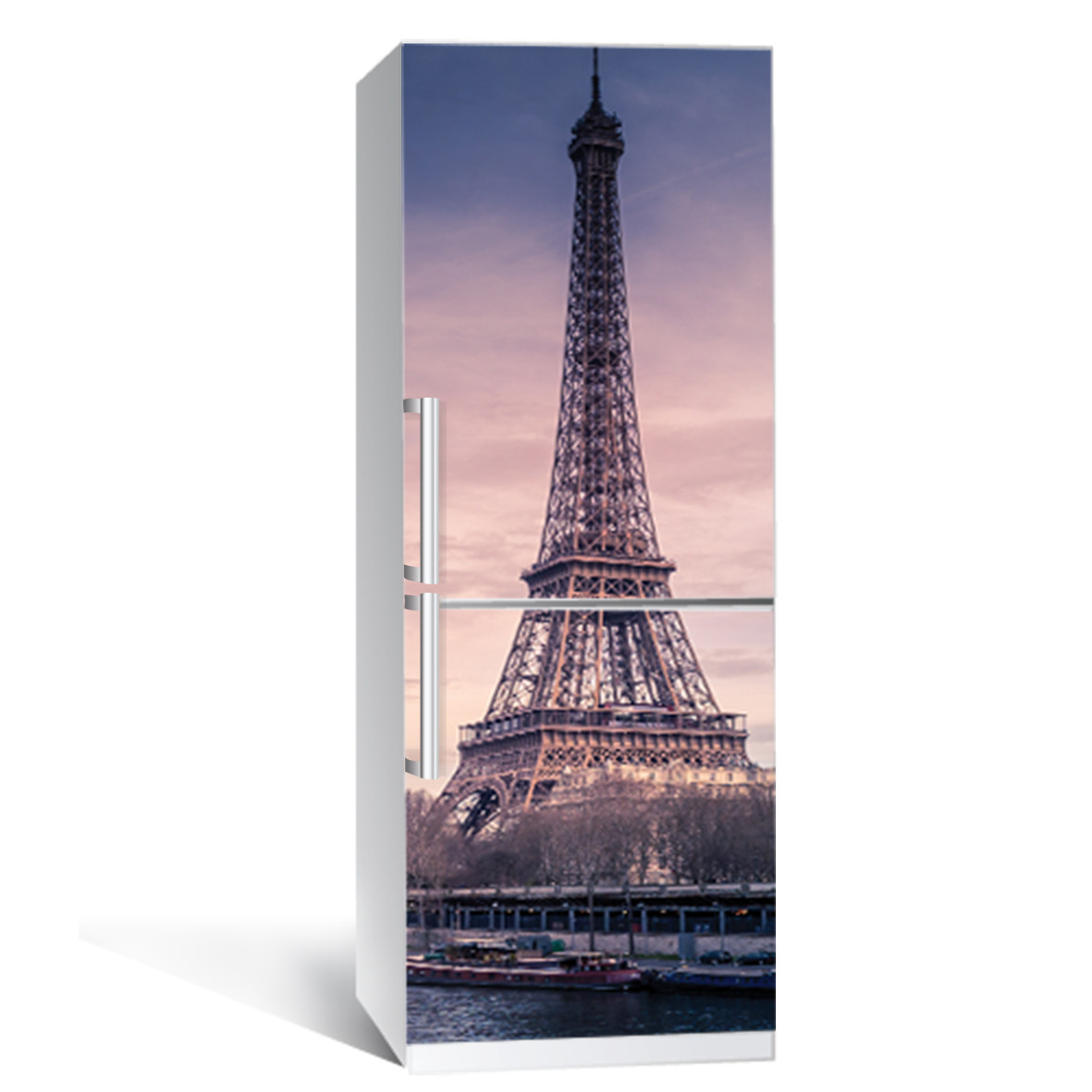 Виниловая наклейка на холодильник Река в Париже ламинированная двойная (пленка фотопечать Эйфелева башня)