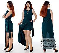 Короткое летнее двойное платье батал с длинной накидкой-жилеткой с разрезом сбоку р.48-54. Арт-3092/41, фото 1