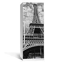 Виниловая наклейка на холодильник Серый Париж ламинированная двойная пленка Эйфелева башня черно-белая