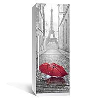 Виниловая наклейка на холодильник Зонт красный ламинированная двойная (пленка фотопечать Эйфелева башня Париж)