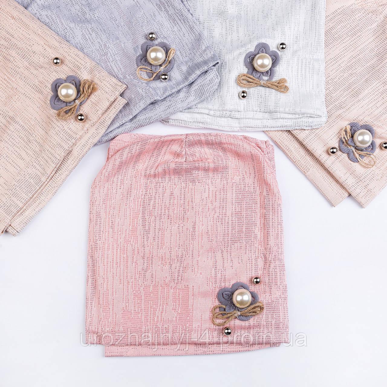 Трикотажный комплект шапка и хомут на подкладке х/б р 50-52 упаковка 5шт