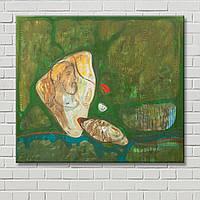 Зеленая картина Мужчина на холсте Картина на холсте Настенный декор Абстрактная картина Декорация стен