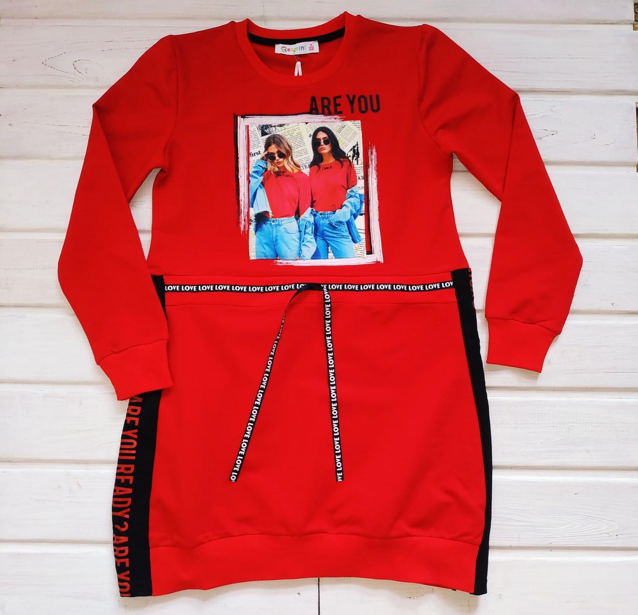✅Платье худи  для девочки красное BERmini  Размеры 146
