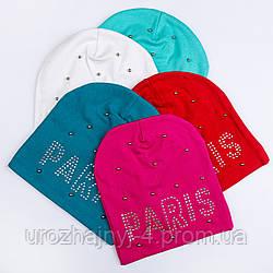 Трикотажная шапка на подкладке х/б размер 52-54 упаковка 5шт