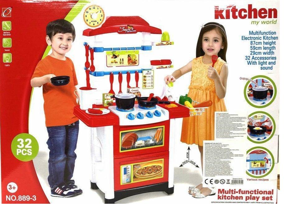 Игровая детская кухня, плита, посуда, продукты со звуковыми и световыми эффектами
