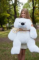 Белый плюшевый мишка лежачий 120 см.