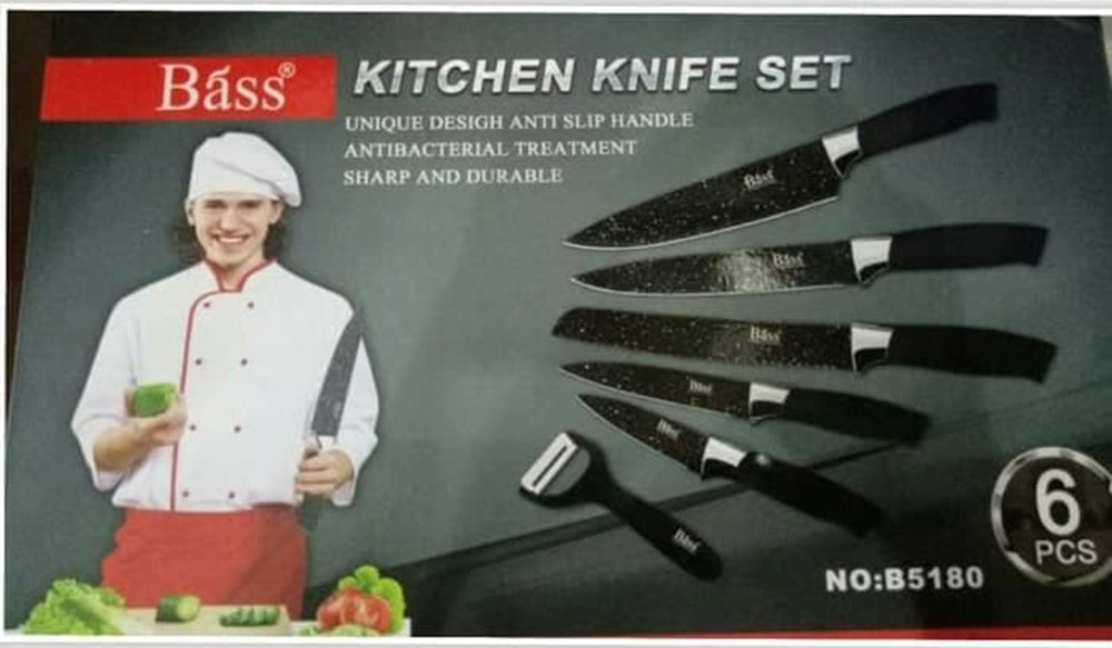 """""""Bass"""" KITCHEN KNIFE SET (6 pcs) - набор ножей из нержавеющей стали (6 штук)"""