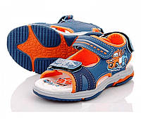 Сандалии для мальчиков сине оранжевые с машинками