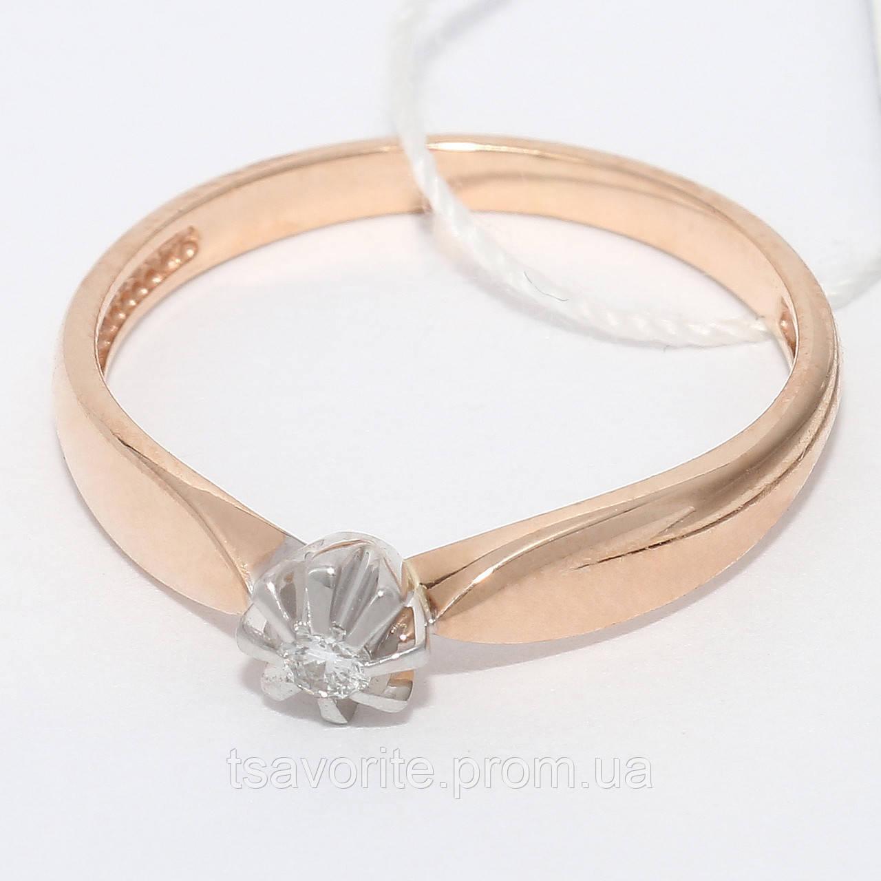 Золотое кольцо с бриллиантом НХК-38
