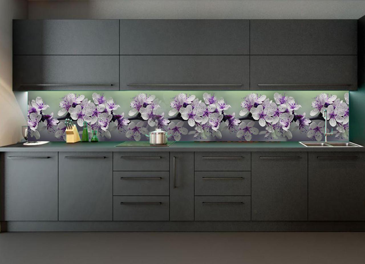 Кухонний фартух Весняне цвітіння повнокольоровий фотодрук наклейка на стіну кухні квіти вишні ветка600*2500 мм