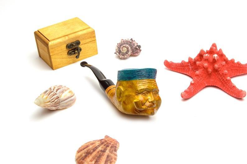 Груша трубка курительная Моряк Папай с мундштуком под фильтр 9 мм авторская ручная работа