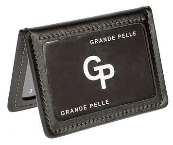 Кожаная обложка для автодокументов черная Grande Pelle (201610)
