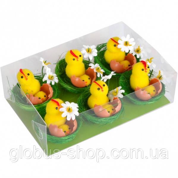 Цыплята в гнезде с цветочком 5 см  1 шт
