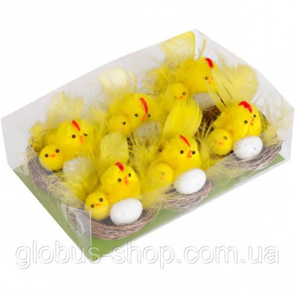 Цыплята в гнезде с яйцом 5 см  1 шт