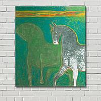 Зеленая картина Лошадь на картине Картина на холсте Настенный декор Абстрактная картина Декорация стен