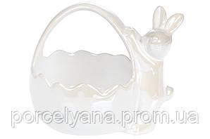 Декоративная конфетница кролик с корзинкой 16 см Bonadi