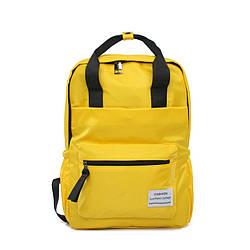 Желтый рюкзак-сумка женский однотонный прямоугольный Mojoyce(AV236)