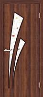 Двері міжкімнатні ОМіС Тріумф СС КР горіх + скло (ПВХ) класика (600,700,800,900 мм)