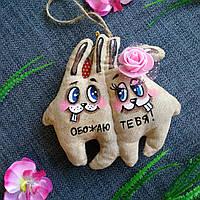 Ароматизированная мягкая игрушка Зайцы неразлучники ручной работы с запахом кофе, ванили и корицы