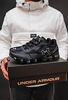 Мужские кроссовки Ander Armour Black+Silver \ Андер Армор Черные \ Чоловічі кросівки Андер Армор Чорні