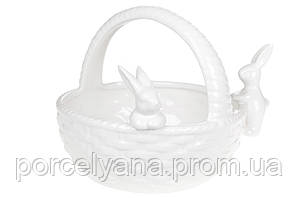 Декоративная конфетница корзина с кроликами 22 см BonaDi