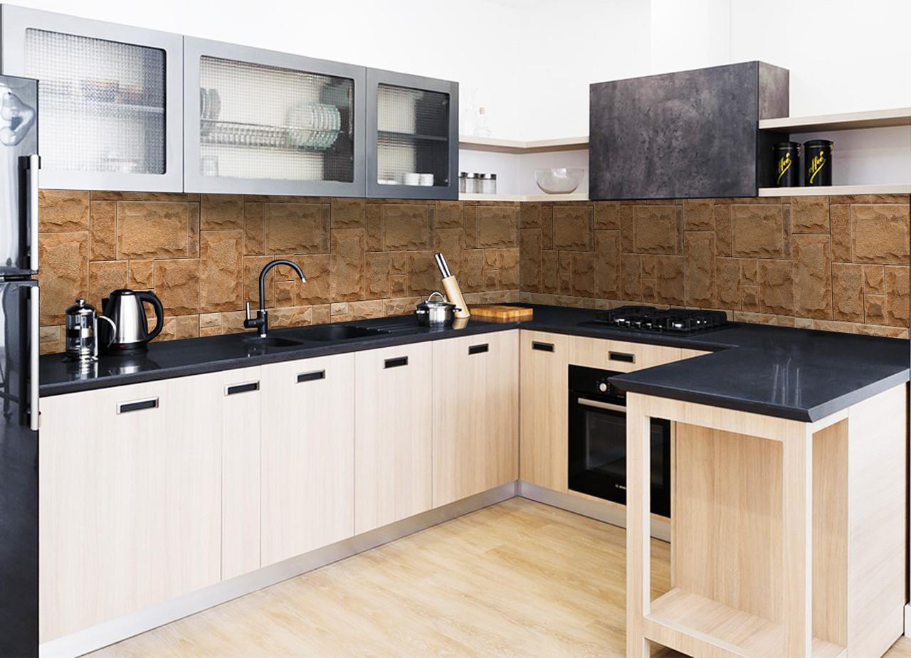 Кухонный фартук Песочный Камень (фотопечать наклейка под кирпич текстура кладка пленка ламинированная)600*2500 мм