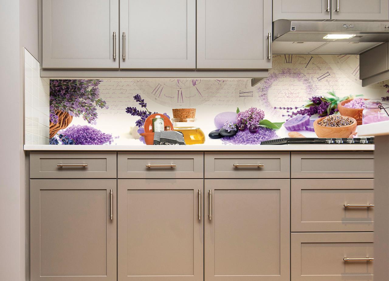 Кухонний фартух Лаванда Арома вінілові наклейки для кухні плівка скіналі Лаванда Прованс кухонний декор