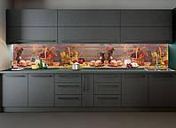 Кухонный фартук Осенний урожай фотопечать наклейка для кухни доски натюрморт корзины 600*2500 мм