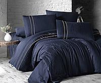 Комплект постільної білизни First Choice Stripe Style Lacivert сатин сімейний синій