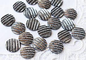 Друза акрилова, 11 мм, смугаста темно-срібляста