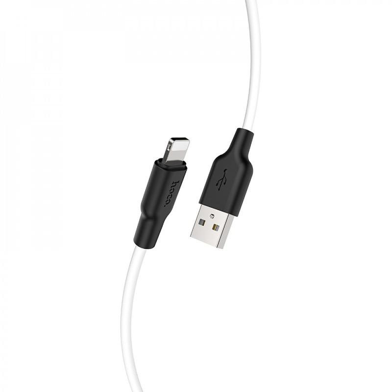 Кабель синхронизации HOCO X21 Plus Silicone Lightning Cable 1m Black / White