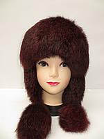 Стильная женская шапка ушанка - мех кролика
