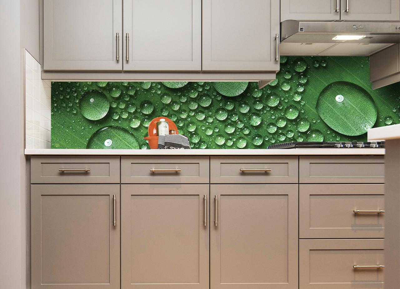 Кухонный фартук Капли скинали фотопечать наклейки для кухни зеленые капли росы вода листок оклеивание стен