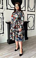 Оригинальное платье-рубашка в цветочный принт  с завышенной талией  в размерах 52-60