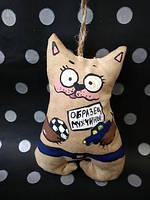 Ароматизированная Мягкая игрушка котик ручной работы с запахом кофе, ванили и корицы