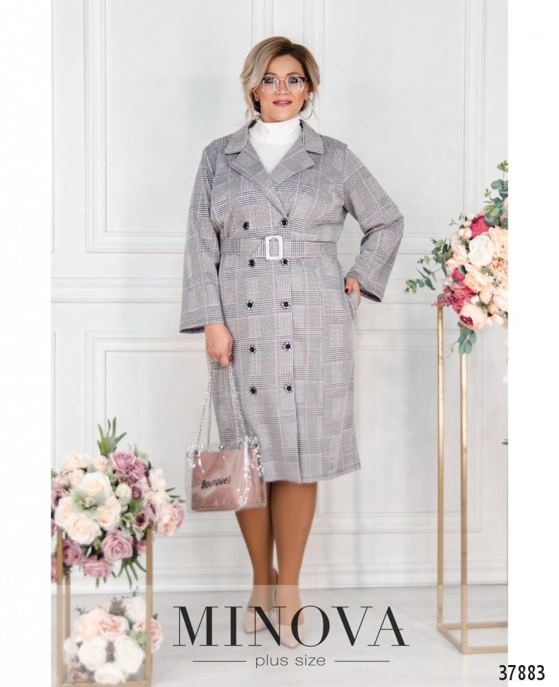 Женское платье - пальто больших размеров в клетку 50-68