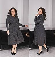Женское модное платье диагональ горошек длинна миди воротник стойка производство Украина M1838-1