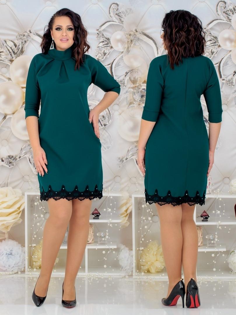 Женское силуэтное платье с отделкой кружева 48, 50, 52, 54
