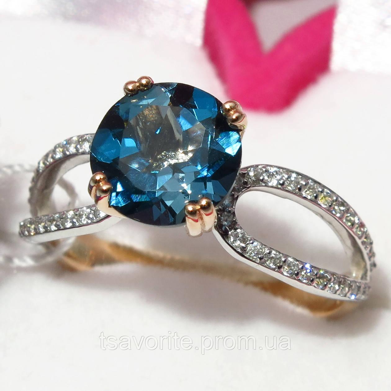 Золотое кольцо с топазом НХК-46