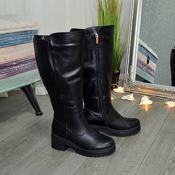 Сапоги женские черные кожаные на невысоком устойчивом каблуке. Батал!