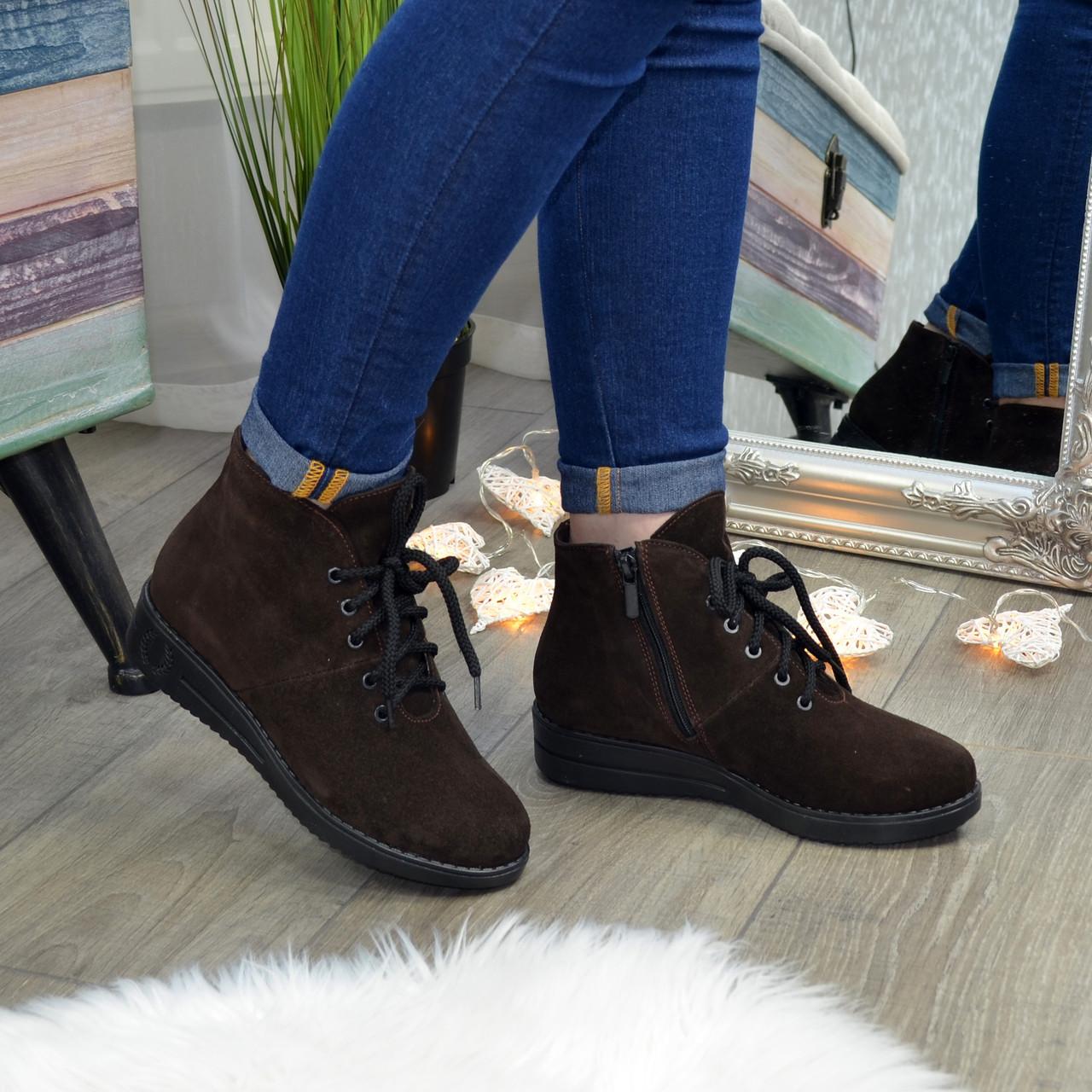 Ботинки женские коричневые замшевые на шнуровке