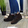 Ботинки женские коричневые замшевые на шнуровке, фото 4