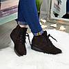 Черевики жіночі коричневі замшеві на шнурівці, фото 5