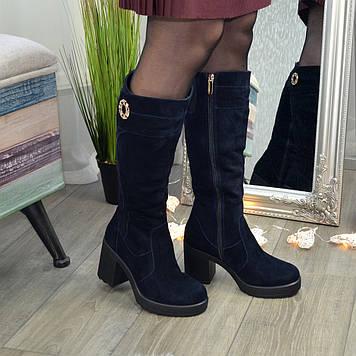 Женские синие замшевые сапоги на высоком устойчивом каблуке, декорированы фурнитурой