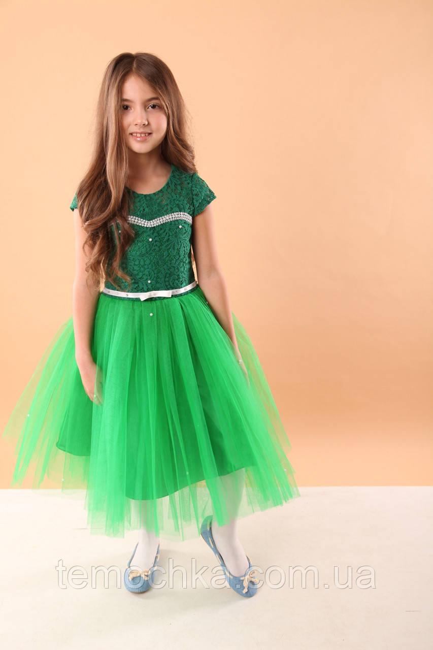 Платье для девочки нарядное зеленое с фатином