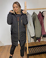 Женская демисезонная ЧЕРНАЯ куртка удлиненная | Свободный крой