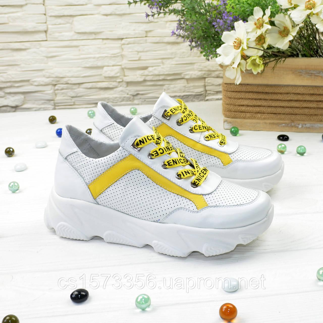 Кроссовки женские кожаные на шнуровке, цвет белый/желтый