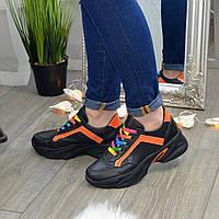 Кроссовки женские кожаные на шнуровке, цвет черный/оранжевый, фото 1